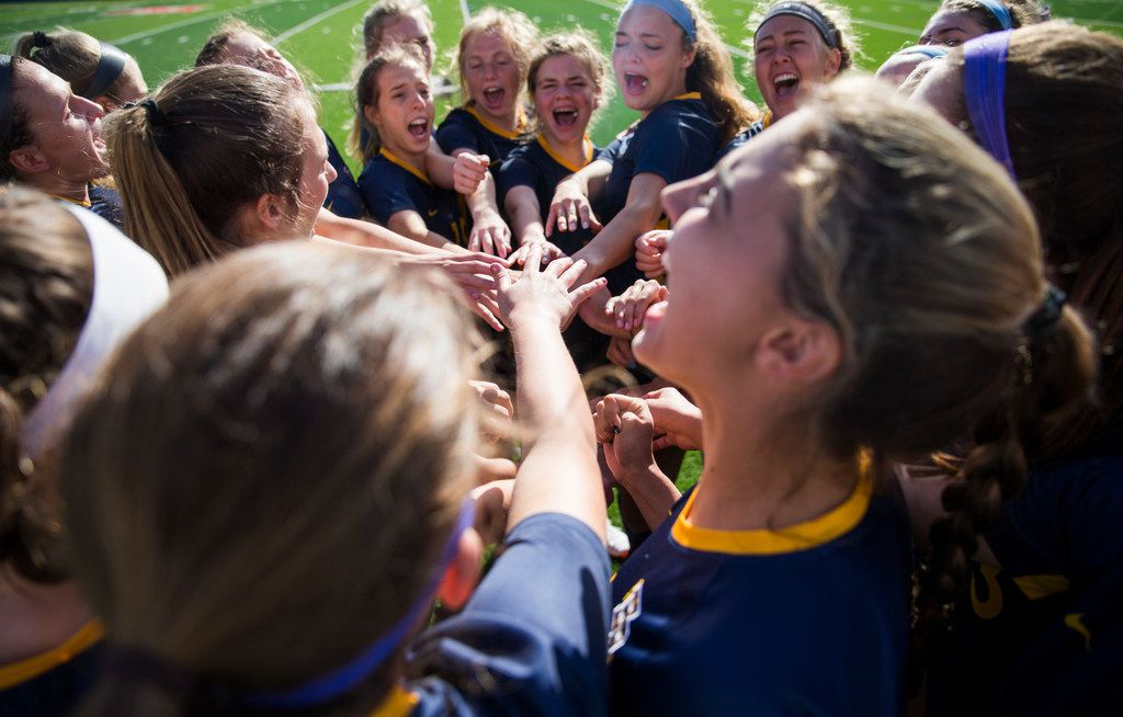 Highland Park players cheer before a UIL conference 5A girls state semifinal soccer game between Highland Park High School and Humble Kingwood Park High School on Thursday, April 18, 2019 at Birkelbach Field in Georgetown, Texas. (Ashley Landis/The Dallas Morning News)