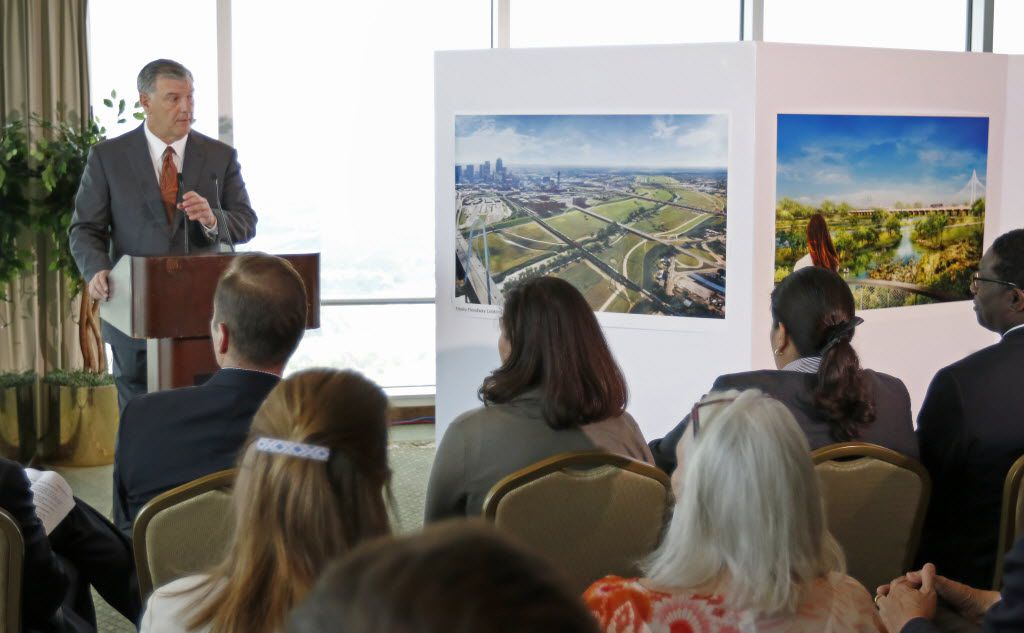 Mayor Mike Rawlings speaks about the plan for a new park to be built at the Trinity River area during a press conference at the City Club in Dallas, Friday, May 20, 2016. (Jae S. Lee/The Dallas Morning News)