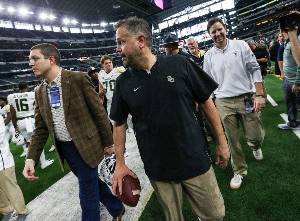 Baylor Bears head coach Matt Rhule makes his way off the field following the Baylor Bears 35-24 win over the Texas Tech Red Raiders on Saturday, Nov. 24, 2018 at AT&T Stadium in Arlington, Texas. (Ryan Michalesko/The Dallas Morning News)