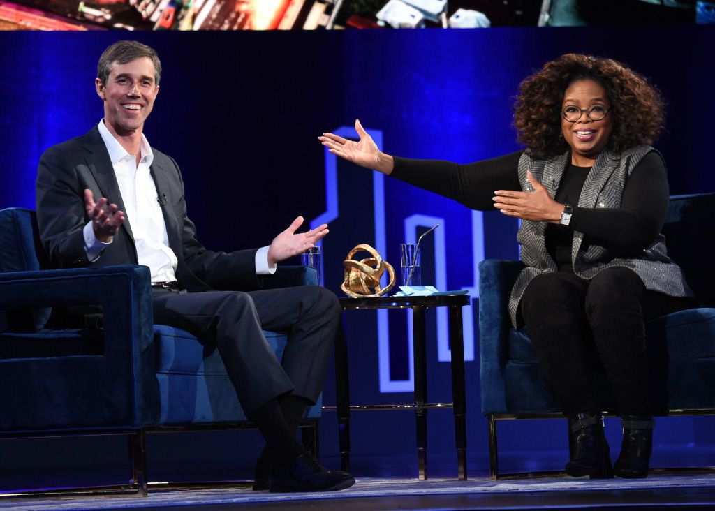 Beto O'Rourke and Oprah Winfrey visited at Oprah's SuperSoul Conversations at PlayStation Theater on Feb. 5, 2019, in New York City.