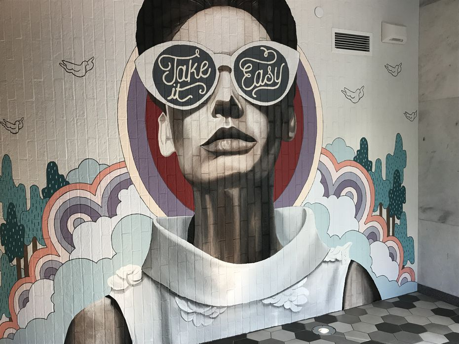 A stunning mural at the entryway of Overeasy, a recently-opened diner at the Statler Hotel in Dallas.