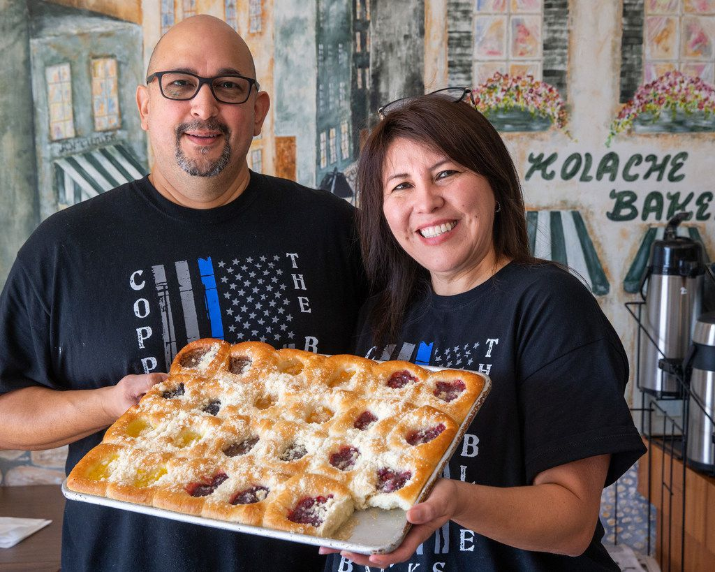 Kasa Kolache bakery owners Enrique Barrera (left) and Gloria Barrera pose for a portrait in their establishment in Coppell, Texas, on Thursday, July 25, 2019. (Lynda M. Gonzalez/The Dallas Morning News)