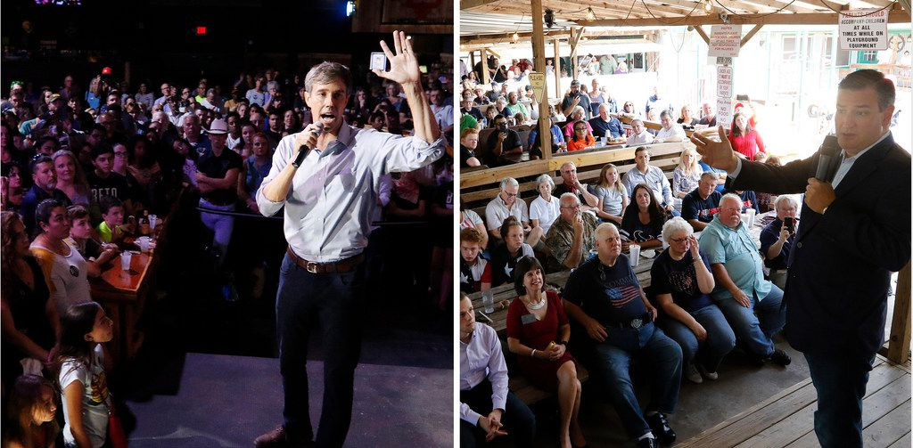 Beto O'Rourke talks to voters during a rally at the Houston Stampede Event Center in Houston Texas, on Saturday, September 8, 2018. Sen. Ted Cruz talks with voters during a retail stop at Tin Roof BBQ in Humble Texas, on Saturday, September 8, 2018. Sen. Ted Cruz campaigned in Humble, Texas, Texas on Saturday, while Beto O'Rourke campaigned a few miles away in Houston, Texas.