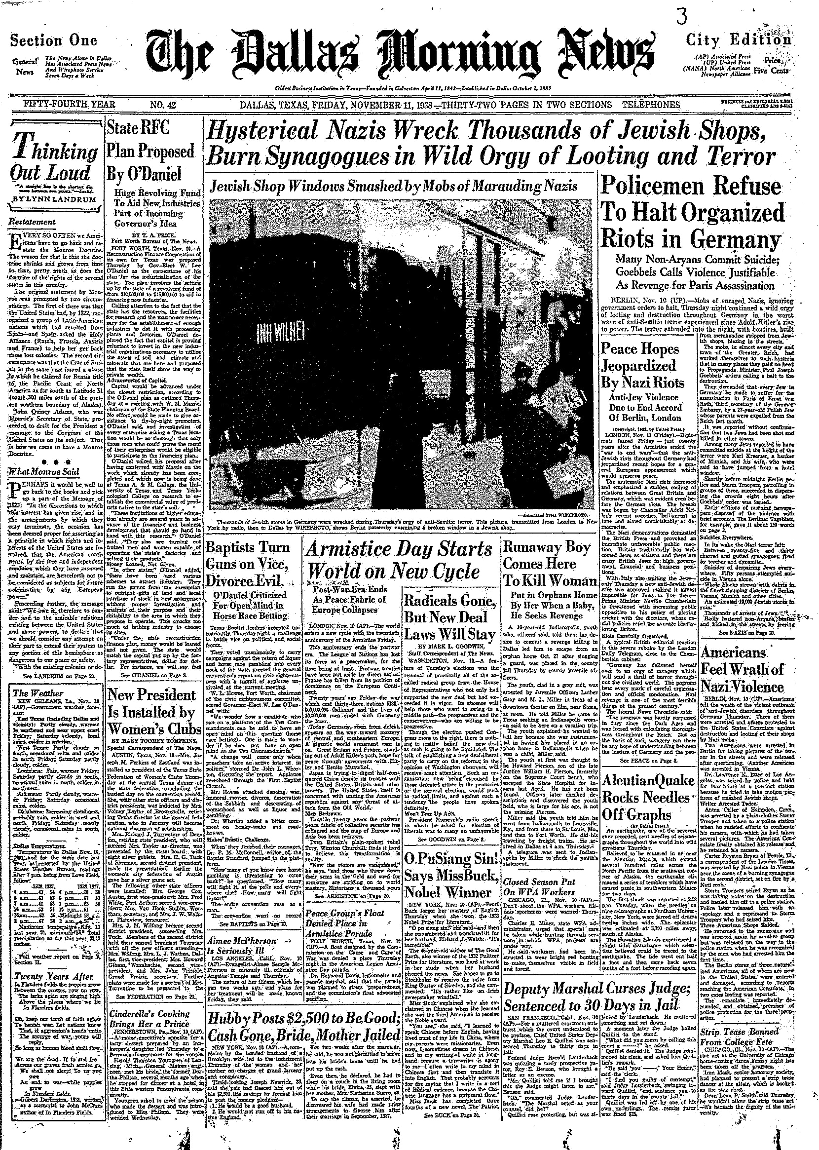 Front page of The Dallas Morning News on Nov. 11, 1938.