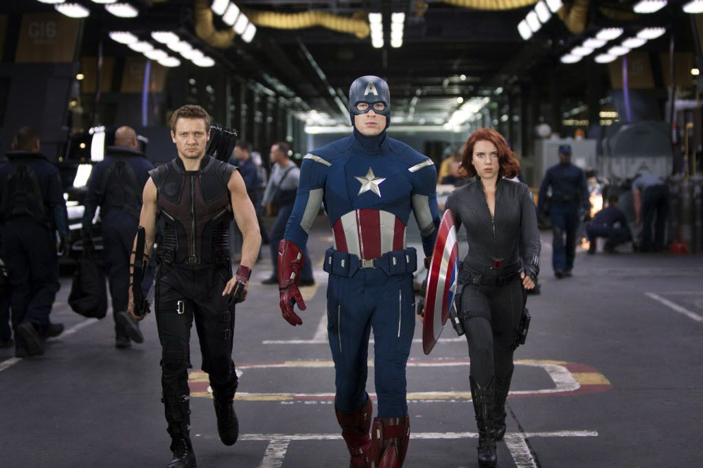 """An undated handout image of, from left, Jeremy Renner, Chris Evans and Scarlett Johansson in Disney's """"Marvel's The Avengers,"""" a mega-hit that had the biggest opening weekend ever."""