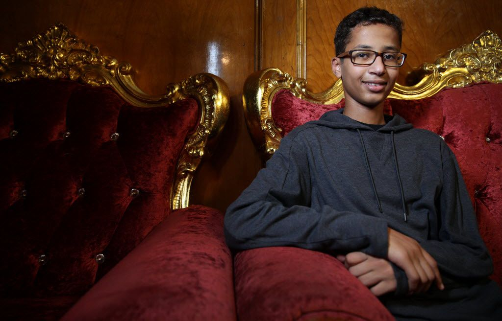 Ahmed Mohamed, the Muslim teenager who was suspended for bringing a homemade clock to school in Irving, poses for a photograph at his home in Irving.