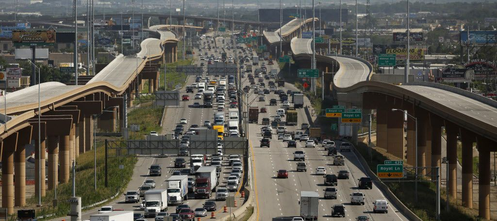 A look at I-35E just south of I-635 LBJ Freeway and the new elevated toll roads that connect the two highways in Dallas.(File Photo/Staff)