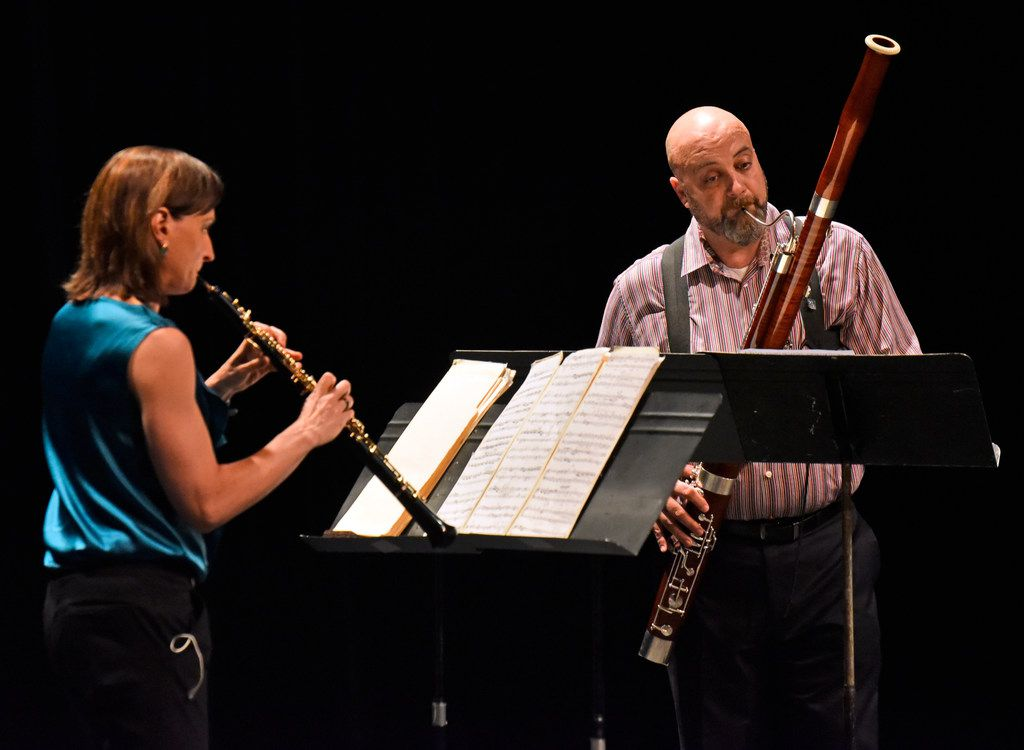 Erin Hannigan, left, and Ted Soluri perform the Duo for oboe and bassoon by Heitor Villa-Lobos, during a concert by Voices of Change, on May 19, 2018, at the Latino Cultural Center in Dallas. B
