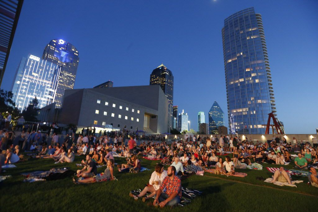 People wait for Dawes to perform at Strauss Square in Dallas, Texas on Wednesday, June 24, 2015.  Michael Ainsworth/The Dallas Morning News)