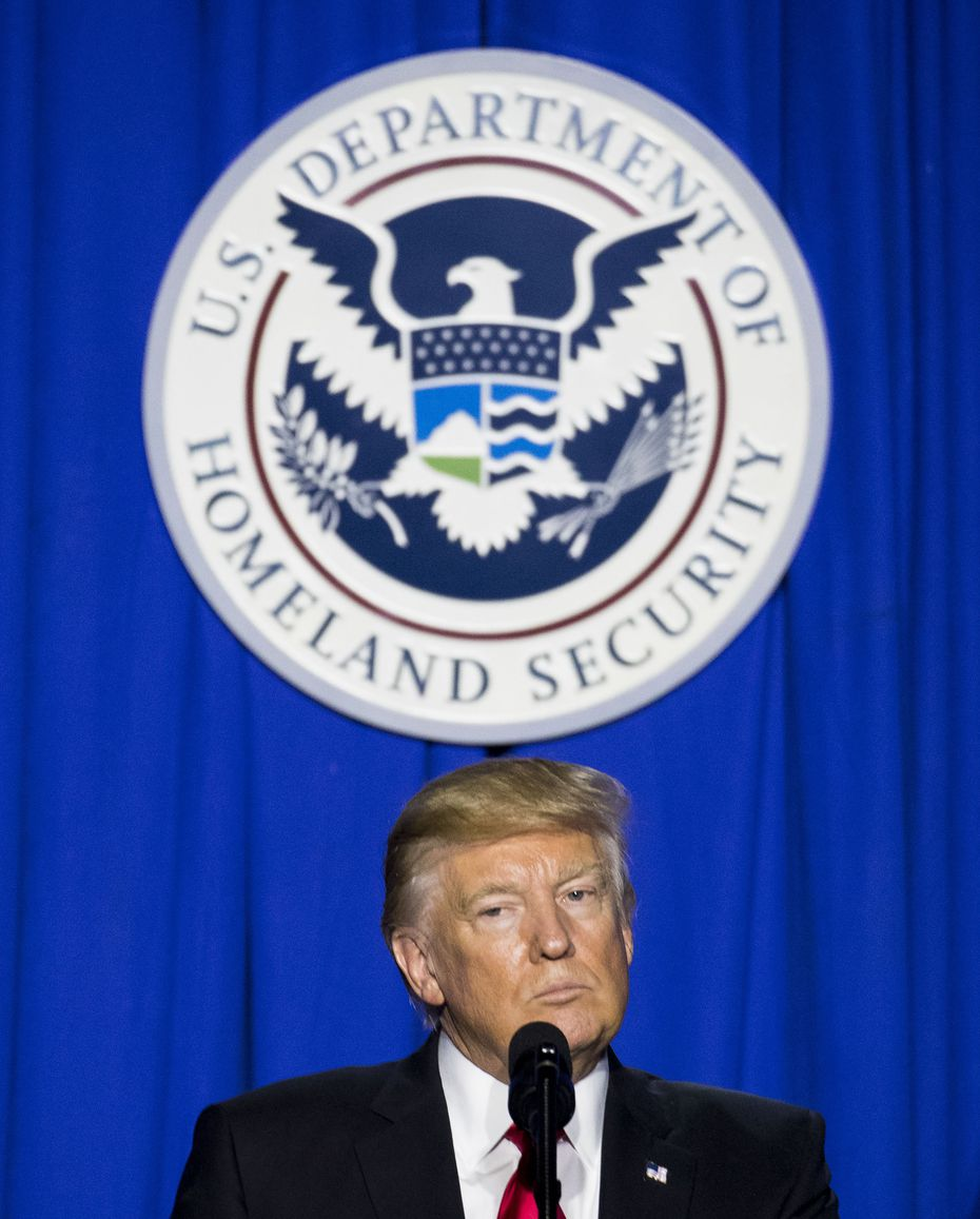 President Donald Trump speaks after signing an executive action at the Department of Homeland Security in Washington, Jan. 25, 2017 which -- before court challenges held it up -- indefinitely blocked Syrian refugees from entering the U.S. and instituted a temporary halt on all refugees. (Doug Mills/The New York Times)