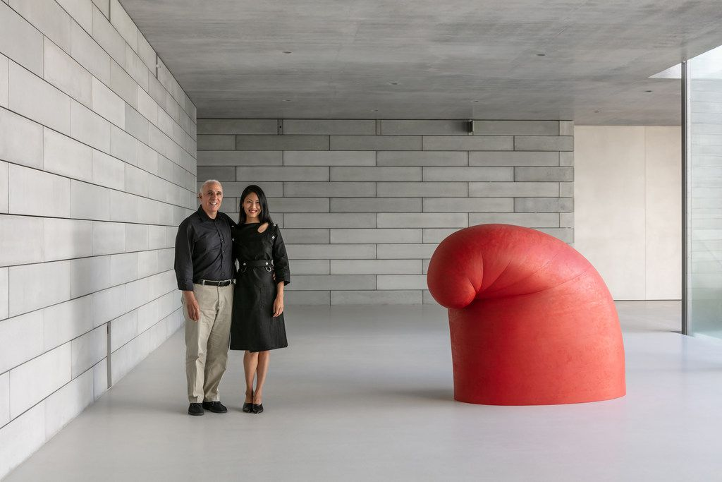 """Mitchell and Emily Rales' collection of contemporary European and American art, is exhibited at Glenstone, their museum in Potomac, Md. Here, the couple is with Martin Puryear's """"Big Phrygian."""""""