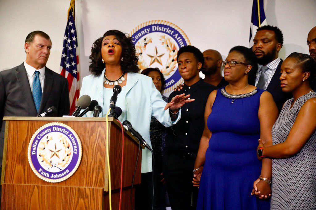 Dallas County district attorney Faith Johnson speaks during a press conference in the Frank Crowley Courts Building.
