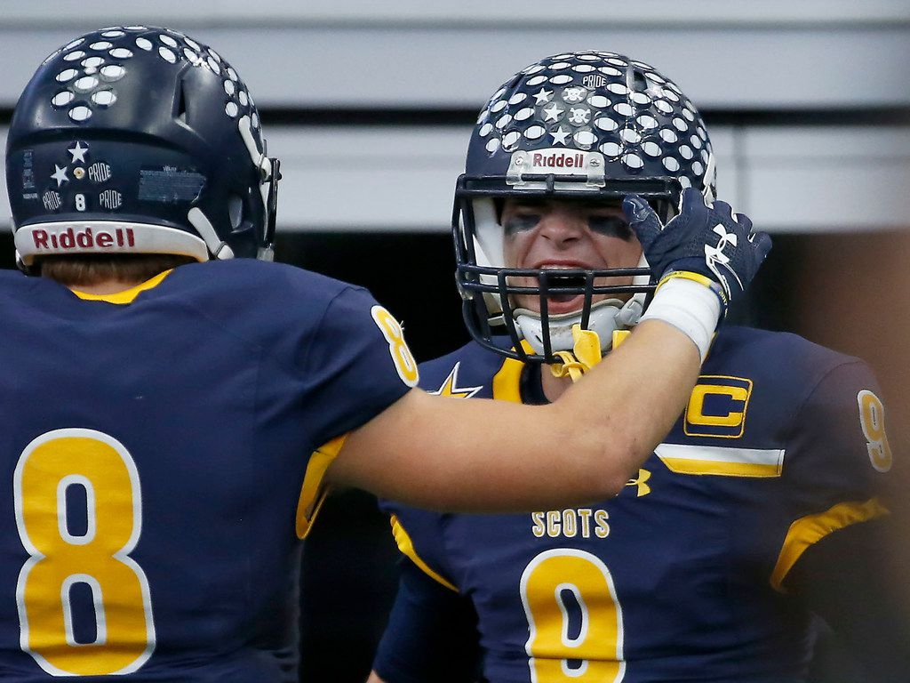 Highland Park quarterback John Stephen Jones (9) celebrates his touchdown with Conner Allen during the first half against McKinney North at AT&T Stadium in Arlington, Texas, Friday, Nov. 24, 2017. (Jae S. Lee/The Dallas Morning News)