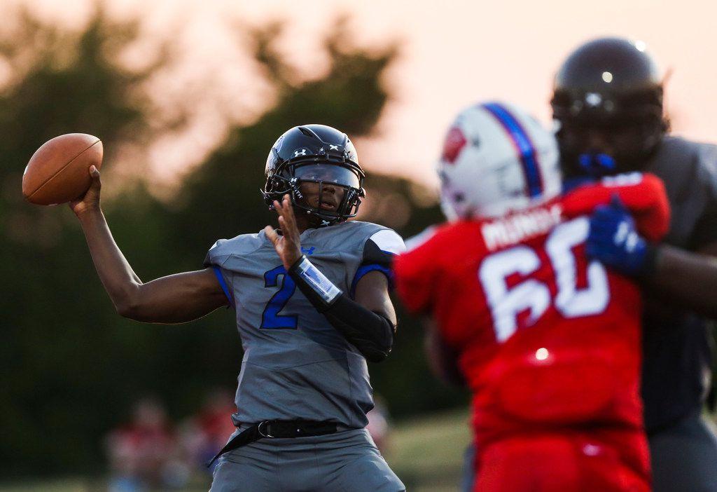 Trinity Christian-Cedar Hill quarterback Shedeur Sanders (2) fires off a pass during a high school football game between Parish Episcopal and Trinity Christian-Cedar Hill on Thursday, Sept. 5, 2019 in Dallas.