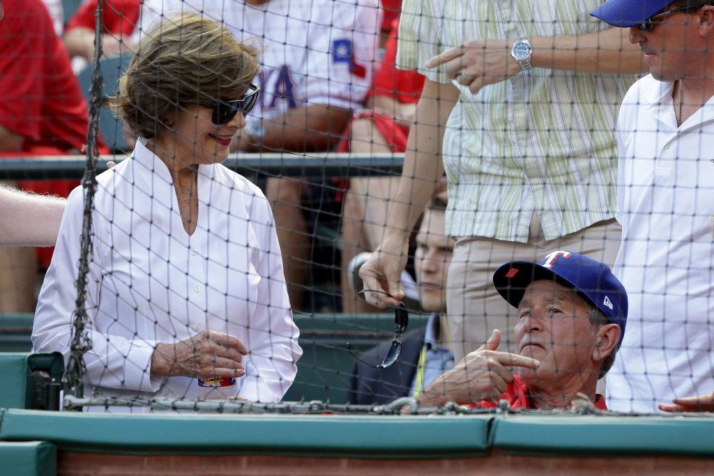 Former President George W. Bush and wife Laura attended Game 1 of the American League Division Series between the Toronto Blue Jays and the Texas Rangers last week at Globe Life Park in Arlington.