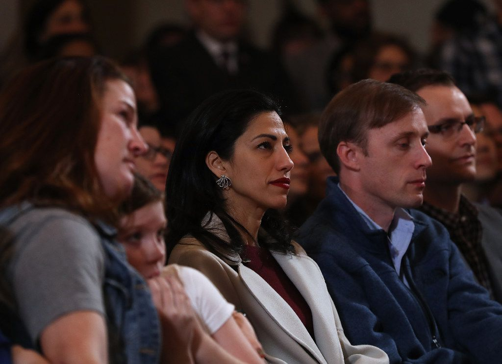 Huma Abedin, aide for former Secretary of State Hillary Clinton, looks on as she concedes defeat.