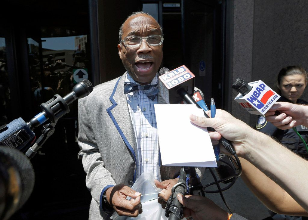 FILE - In this July 25, 2014, file photo, Dallas County Commissioner John Wiley Price speaks to reporters outside the federal courthouse in Dallas. Defense attorneys rested its case in Price's corruption trial Thursday, April 13, 2017, after calling just two witnesses. Closing arguments are scheduled for Tuesday morning, April 18 after the extended Easter weekend, after which jurors will begin deliberations. (AP Photo, File)