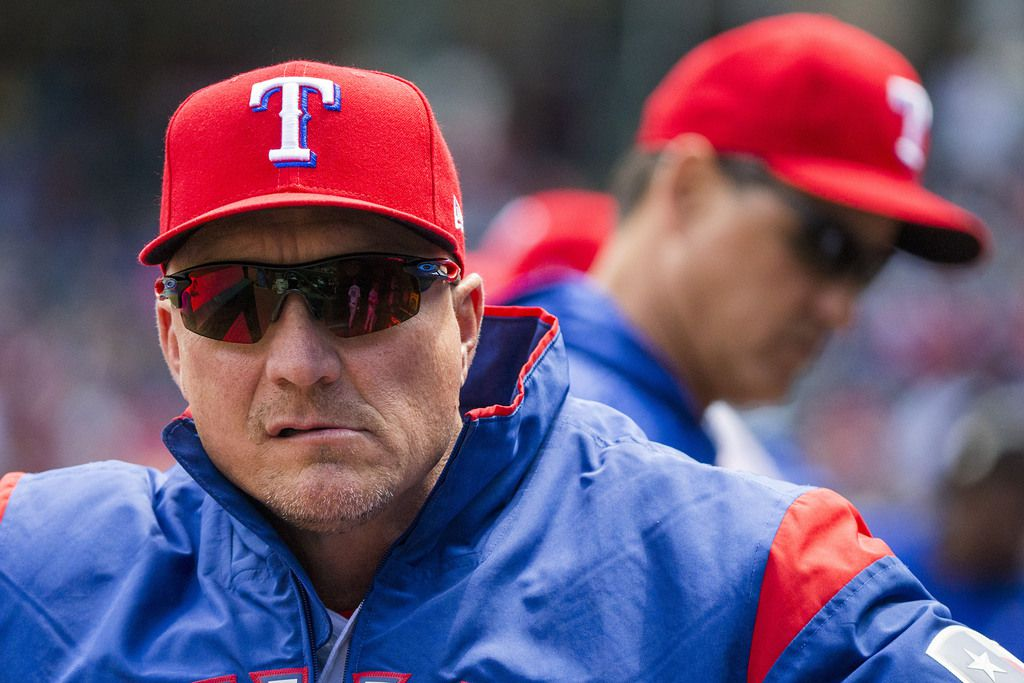 Texas Rangers manager Jeff Banister looks out from the dugout before a game against the Seattle Mariners at Globe Life Park on Sunday, April 22, 2018, in Arlington. (Smiley N. Pool/The Dallas Morning News)