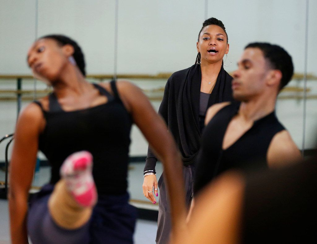 DBDT: Encore! artistic director Nycole Ray (center) watches as the dancers rehearse My'Kal Stromile's Mirror of the Effigy.