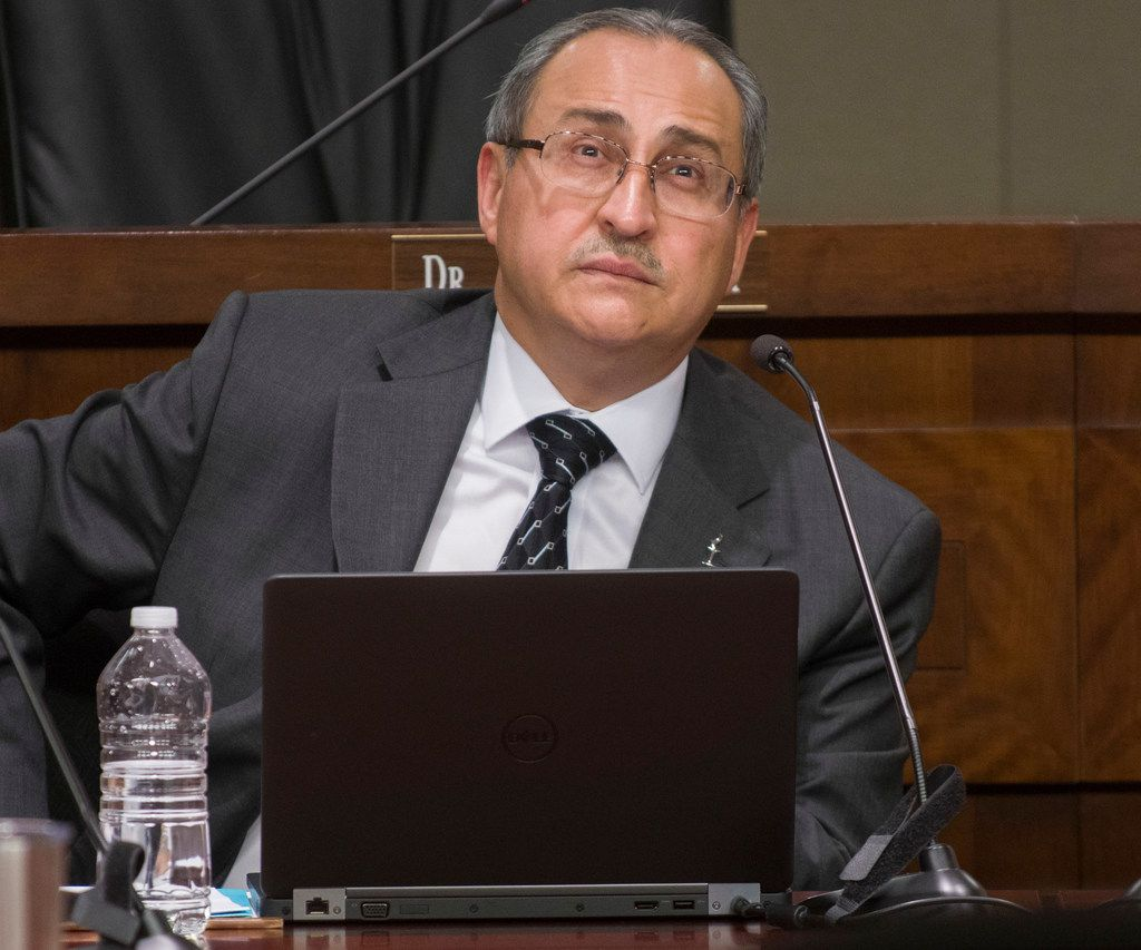 Irving ISD Superintendent Jose Parra sat mostly expressionless during a school board work session before trustees accepted his resignation.