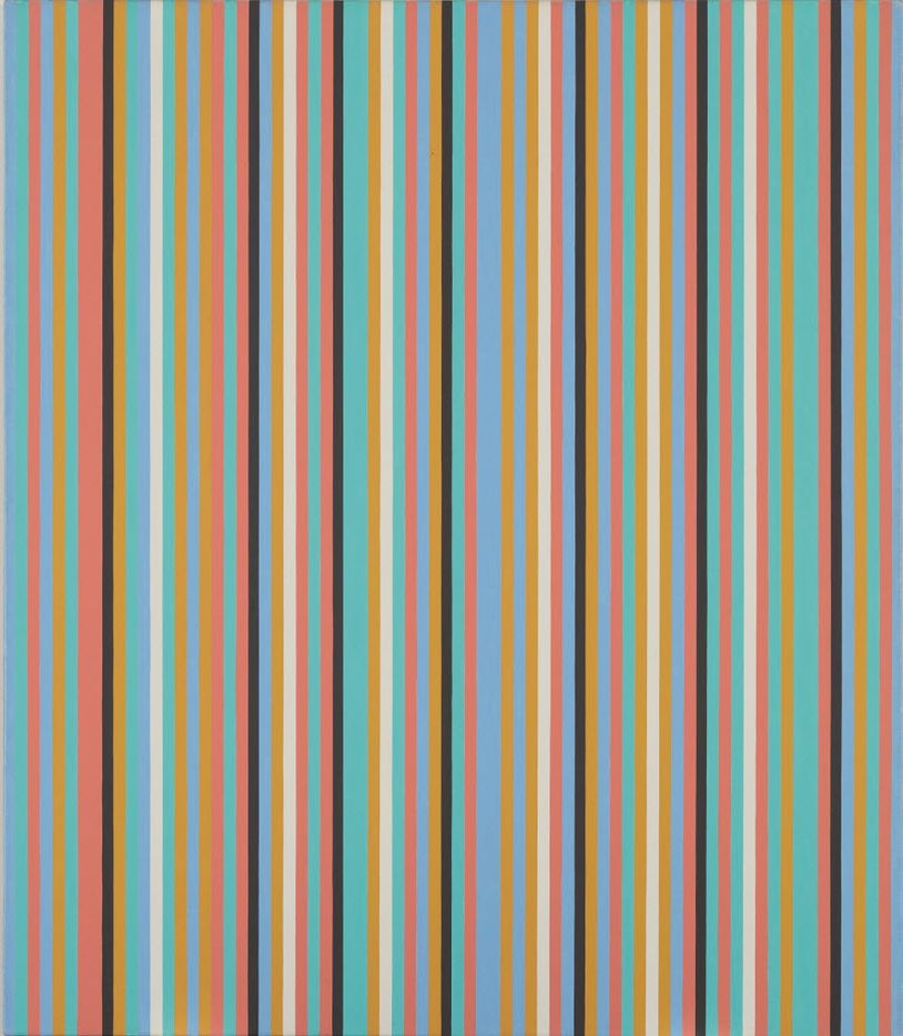 This undated photo provided by Christie's Images LTD. 2019, shows Songbird, an oil on linen painting by Bridget Riley. The item is one of more than 200 art pieces from music artist George Michael's private collection that will go up on the auction block in London in March. (Christie's Images LTD. 2017 via AP)