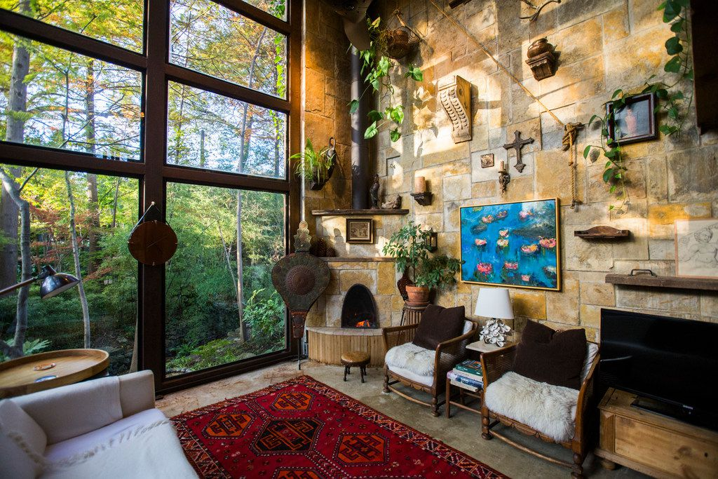 """The living room of an Airbnb house affectionately known as the """"tree house"""" and named the most wish-listed Airbnb in Dallas."""