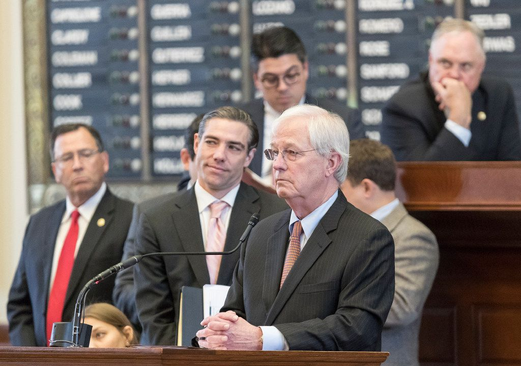 Republican Rep. Charlie Geren gathered with other House members as he spoke about Senate Bill 4 in April 2017.