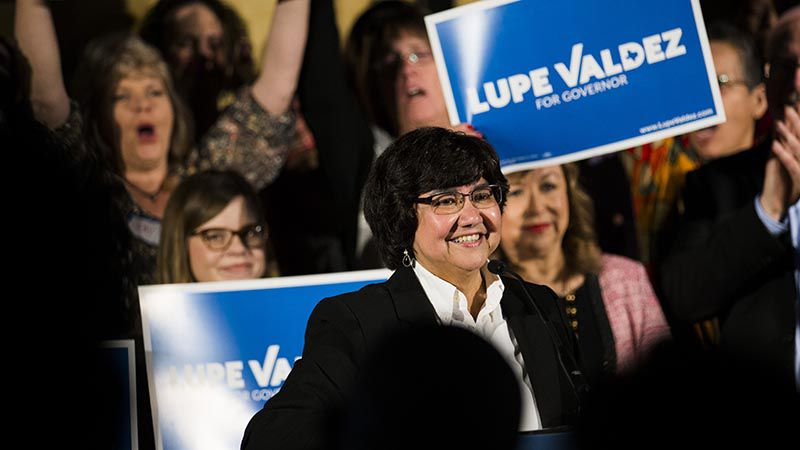 Former Dallas County Sheriff Lupe Valdez kicks off her campaign for Texas governor on Jan. 7 at Tyler Station in Dallas.