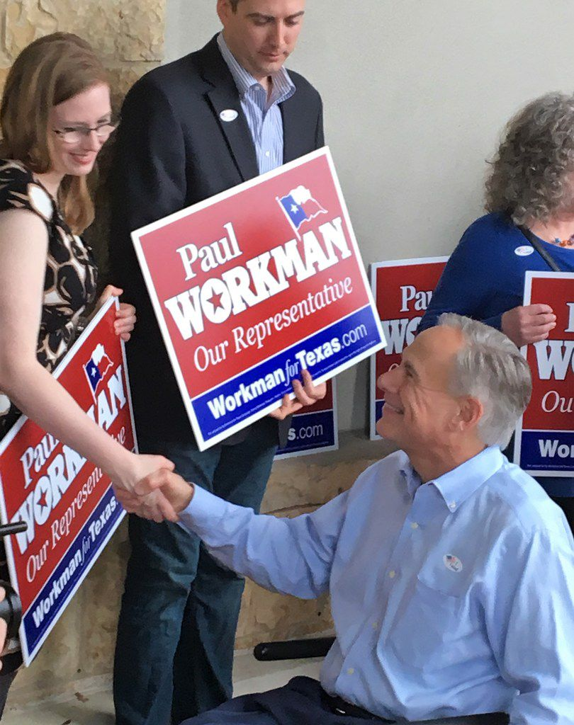 Gov. Greg Abbott urged voters to avoid long lines by casting early votes, as he did Tuesday in Austin. (Robert T. Garrett/The Dallas Morning News)
