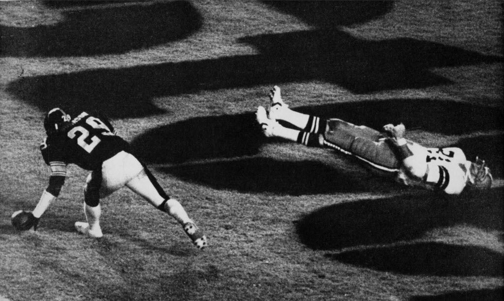 January 21, 1979 - The body of Dallas Cowboys tight end Jackie Smith goes rigid as he reacts to missing a touchdown pass in the end zone that would have tied the game in the third quarter of Supr Bowl XIII in Miami Sunday.  Smith, a 16-year veteran, says he is going to retire again.  Picking up the incomplete pass is Steelers cornerback Ron Johnson.  AP
