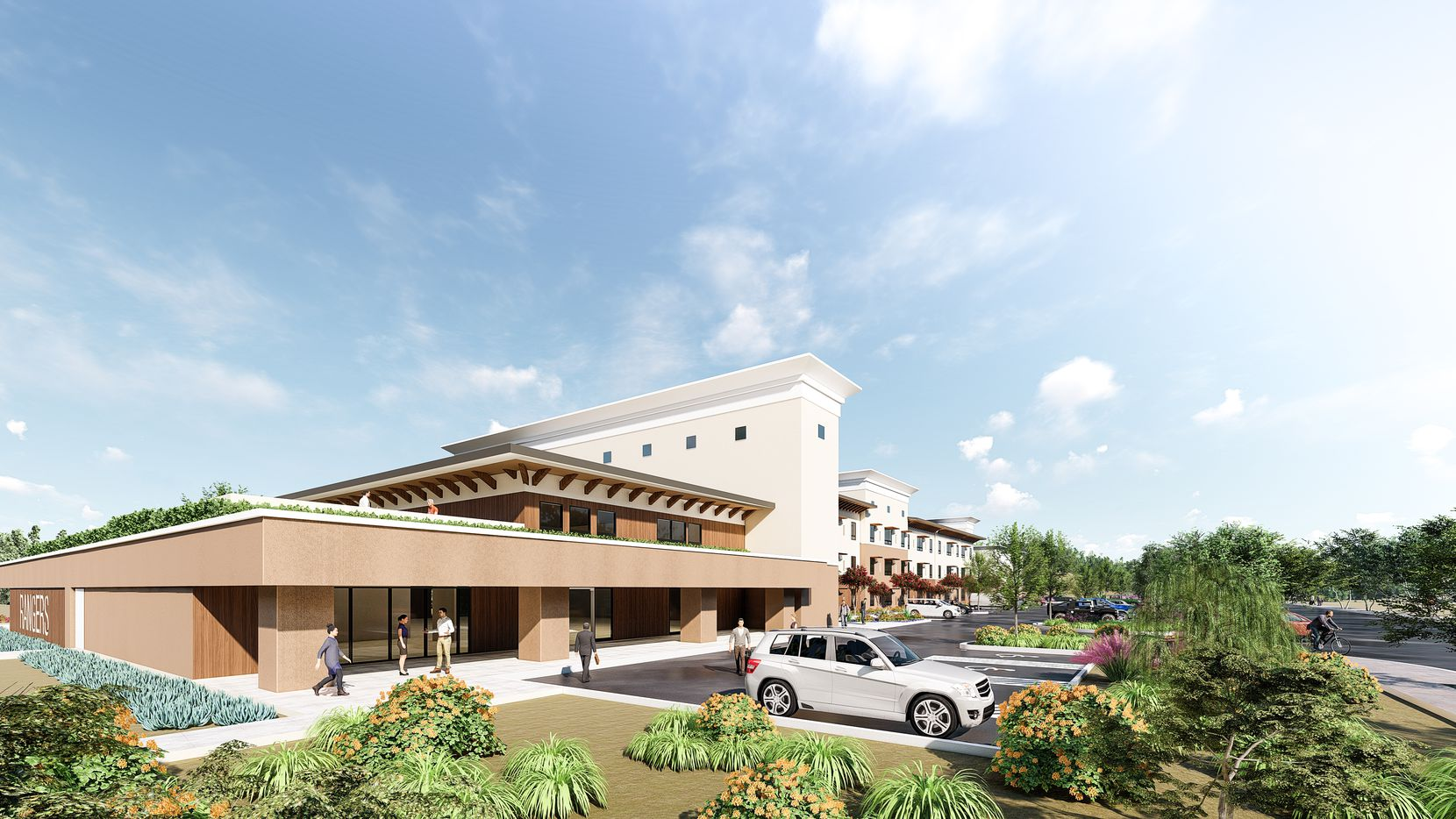 A rendering of the Texas Rangers' new baseball housing facility in Surprise, Ariz.