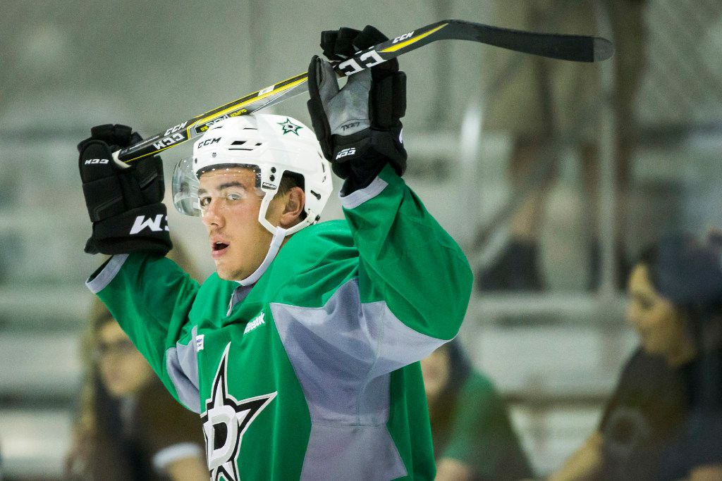 Defenseman Gavin Bayreuther waits his turn during a drill on the first day of Dallas Stars development camp at the Dr Pepper StarCenter on Saturday, July 8, 2017, in Frisco. (Smiley N. Pool/The Dallas Morning News)
