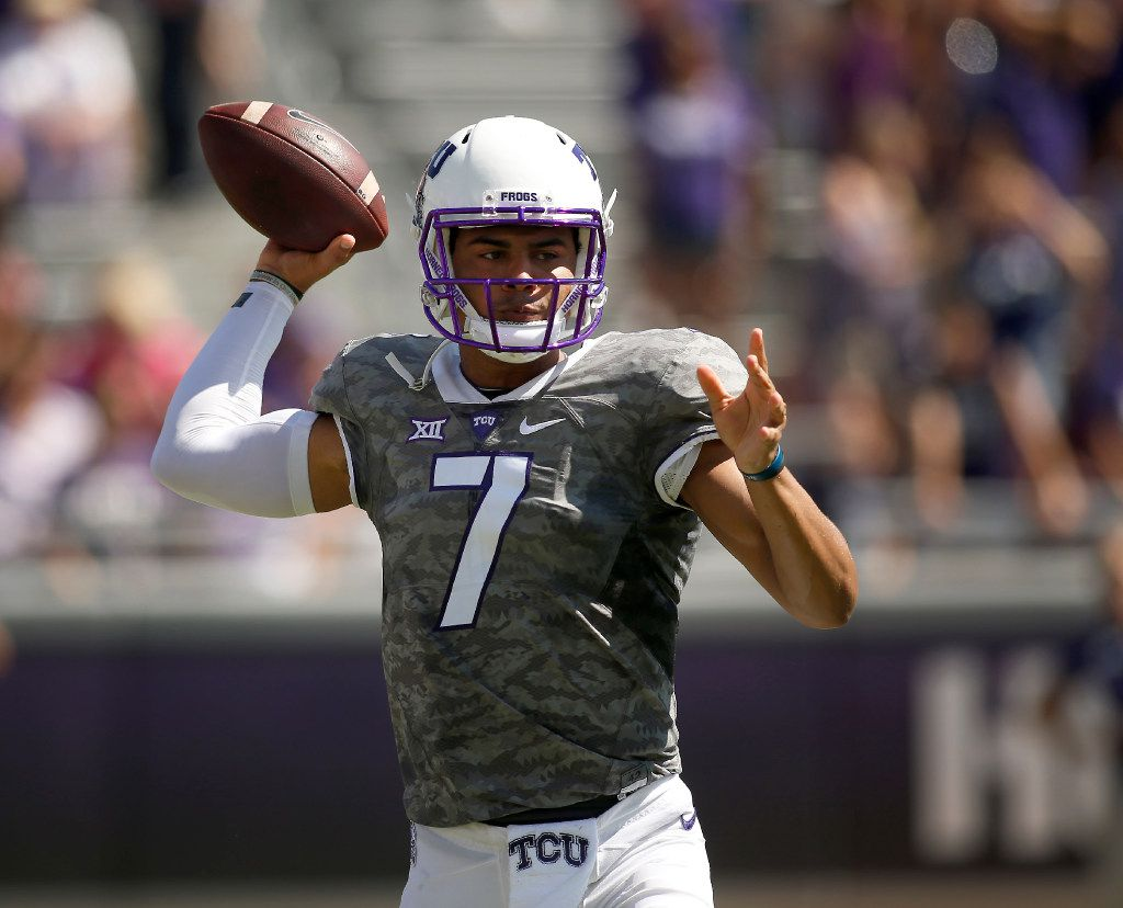 TCU quarterback Kenny Hill (7) trows in the first half of an NCAA college football game against Iowa State, Saturday, Sept. 17, 2016, in Fort Worth, Texas. (AP Photo/Brad Loper)
