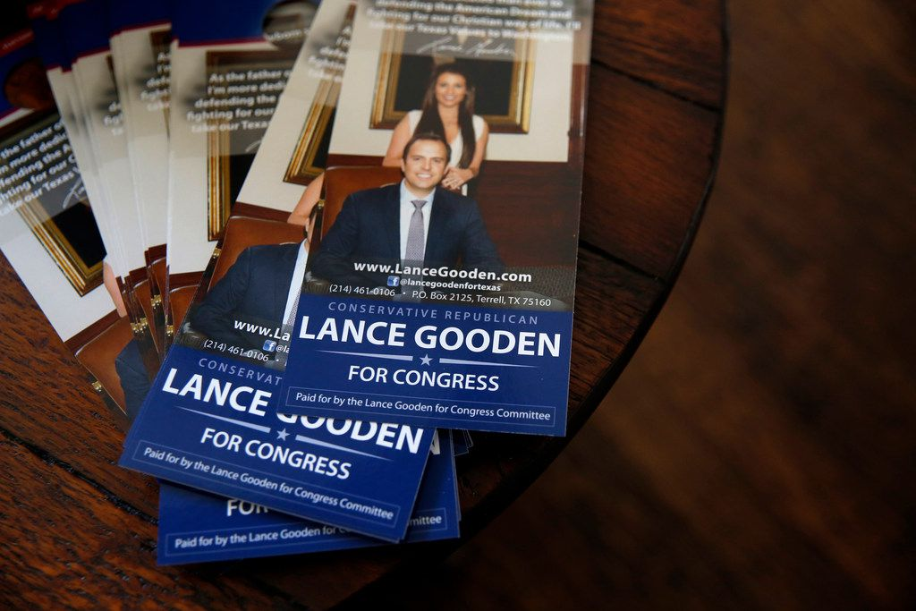 Campaign door hangers sit on a table during a campaign fundraiser for Texas state representative Lance Gooden.