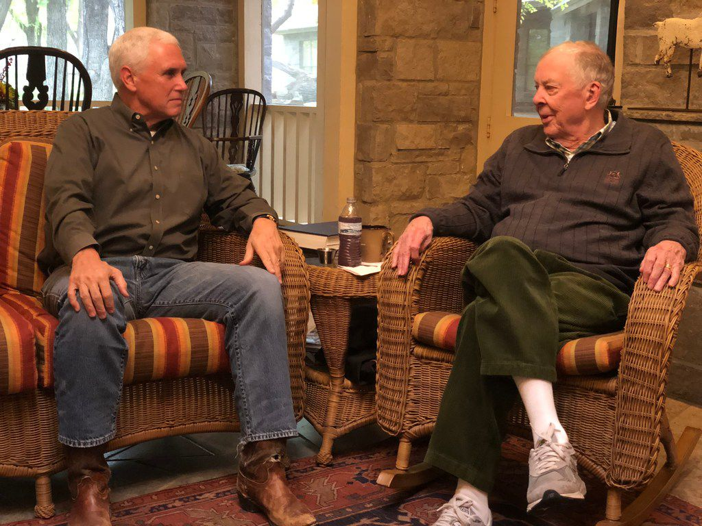 Vice President Mike Pence and T. Boone Pickens during a post midterm respite at Mesa Vista Ranch.