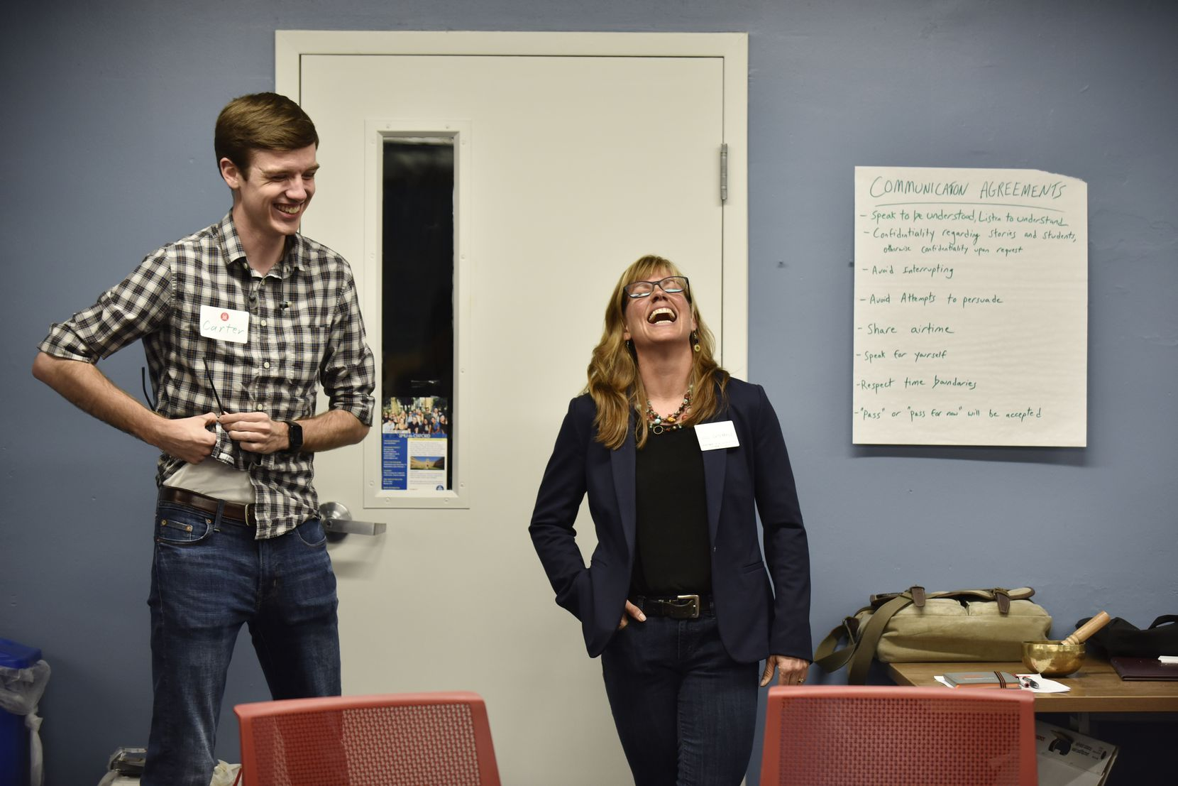 Professor Jill DeTemple shares a laugh with SMU senior Carter Koehler, who served as a moderator in one of the recent dialogue circles with honors students.