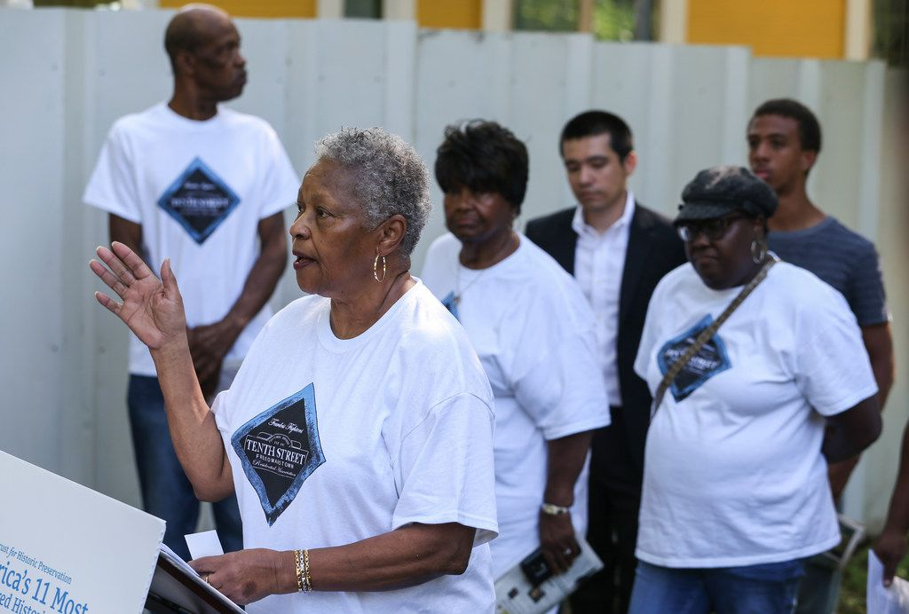 Patricia Cox, longtime resident of the the district and president of the Tenth Street Residential Association, spoke at Thursday morning's press conference announcing the addition of the Tenth Street Historic District to the National Trust for Historic Preservation most-endangered historic places list.