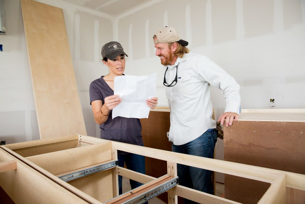 Chip and Joanna Gaines on the set of their new HGTV show Fixer Upper: Behind the Design. It premiers on Tuesday, April 10, 2018. Joanna Gaines visiting husband Chip to talk about the cabinet install at the Brooks home, as seen on Fixer Upper.