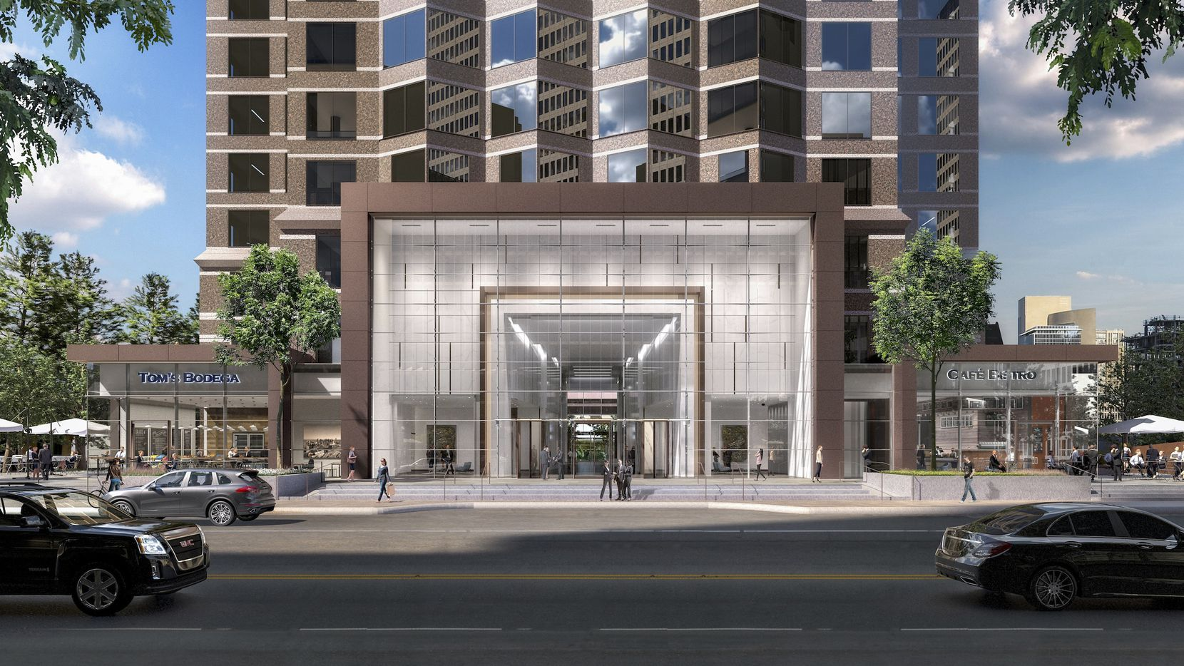 Trammell Crow Center will get a new glass entry and retail on Ross Avenue.