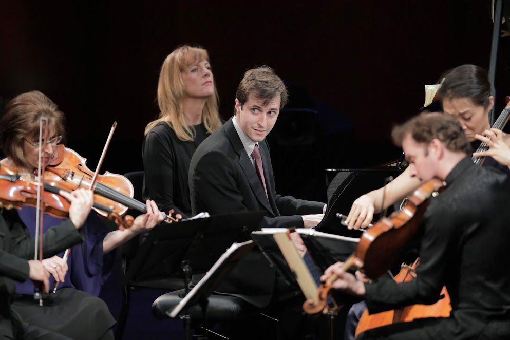 Pianist Kenneth Broberg performs with the Brentano String Quartet in the final round of the Van Cliburn International Piano Competition.