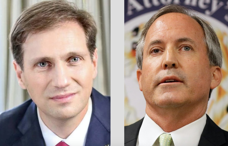 Democrat Justin Nelson, left, a Houston attorney, is challenging incumbent Texas Attorney General Ken Paxton. (Nelson photograph courtesy of the Nelson campaign; Paxton photograph by AP Photo/Tony Gutierrez)