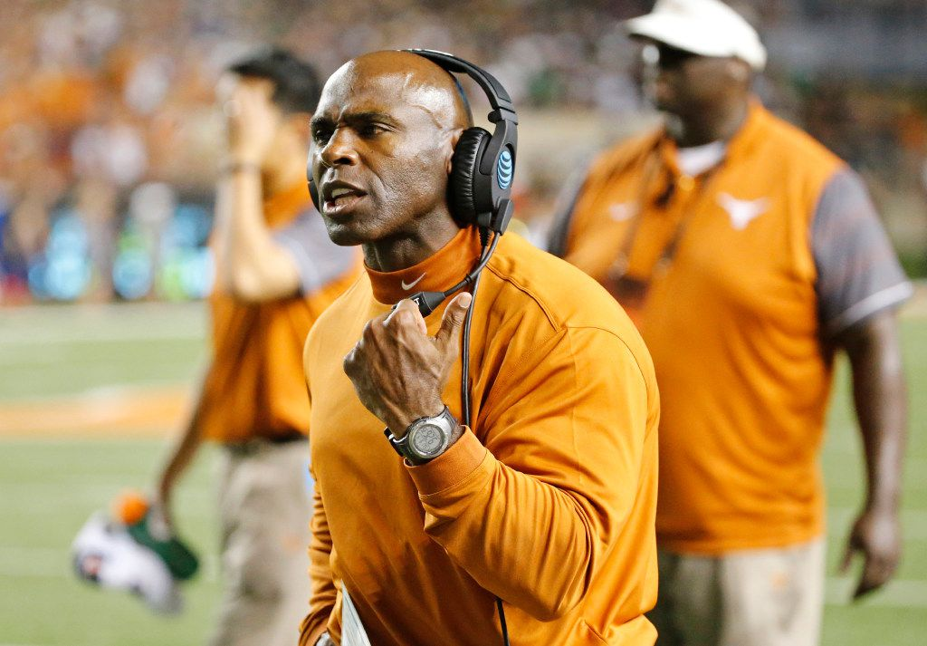 Texas head coach Charlie Strong is pictured during the Notre Dame Fighting Irish vs. the University of Texas Longhorns NCAA football game at Darrell K. Royal Memorial Stadium in Austin on Sunday, September 4, 2016. (Louis DeLuca/The Dallas Morning News)