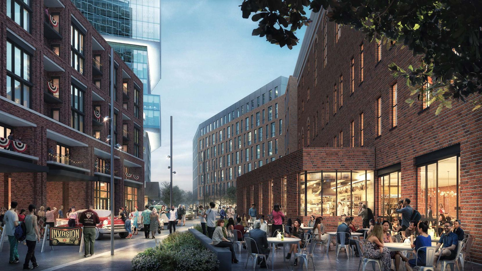 The Epic development includes retail space built along a new street between the apartment, hotel and office buildings.