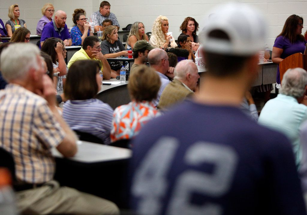 A near-capacity crowd was gathered as speakers shared sentiments in favor as well as against the hiring of Art Briles. The meeting of the Mount Vernon ISD Board was the first since naming Art Briles as its head football coach. The Meeting was held in the High School Lecture Hall in Mount Vernon on June, 17, 2019.  (Steve Hamm/ Special Contributor)