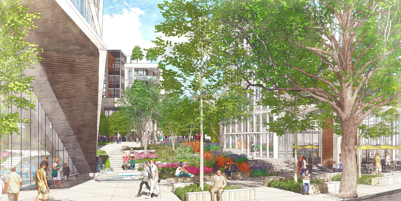 A landscaped pedestrian promenade will run through the middle of the high-rise project