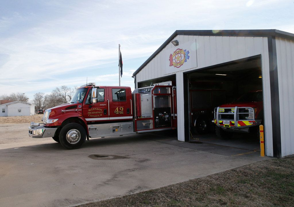 Captain Kenny Griffith and firefighter Jordan Dillard leave to fill the tank up with gas at the McLendon-Chisholm Volunteer Fire Department in McLendon-Chisholm, Texas on Thursday, January 4, 2018. The Rockwall County town of McLendon-Chisholm is without a fire services contract and is currently obligated to serve the city, but is doing so on reserve funds as of January 1, 2018. (Vernon Bryant/The Dallas Morning News)