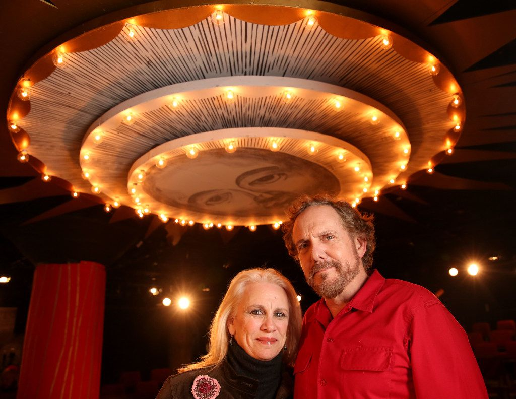 "Katherine Owens, artistic director of Undermain Theatre, and her husband, Bruce DuBose, who stars as Galileo in ""Galileo,"" at the Undermain Theatre in Dallas."