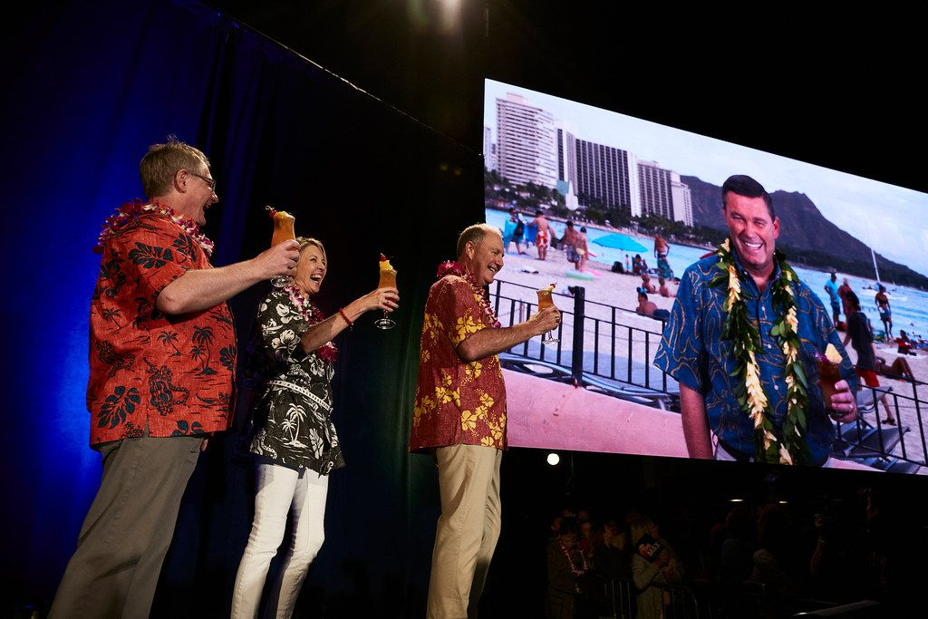 Southwest Airlines CEO Gary Kelly celebrates the announcement of service to Hawaii with other company executives during an Oct. 11, 2017, event.