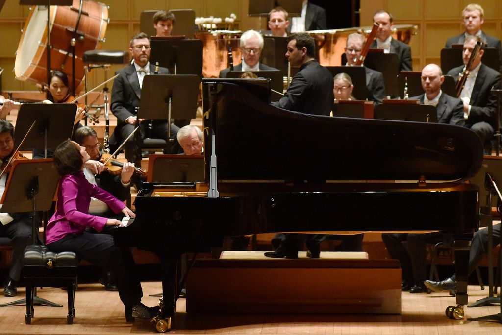 Pianist Hélène Grimaud performs with the Dallas Symphony Orchestra, conducted by Lionel Bringuier.