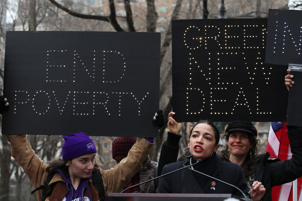Rep. Alexandria Ocasio-Cortez, D-N.Y., speaks during the Women's March Alliance on, Jan. 19, 2019, in New York.